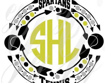 Spartans Tennis Monogram Frame SVG EPS Dxf Gif Pdf Jpg Png Digital Cutting Design Vector Image Graphic Sports Arrows polka dots School