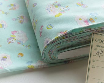Japanese Import Cosmo Textile Unicorn & Rainbow | 100% Cotton | AP-76410-2C Mint | By the yard