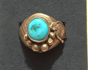 ON SALE : Vintage Old Pawn Mens Sterling Silver Turquoise Ring size 12  12.8Grams