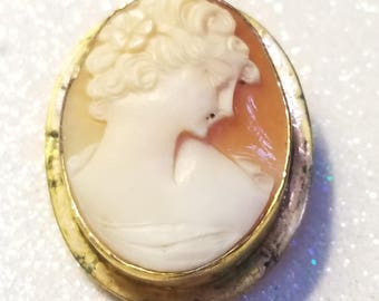 Vintage 12K Gold Filled Cameo Pendant Pin Brooch Needs Cleaned