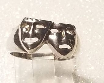 Vintage Comedy Tragedy Mask Ring .925 Size 7