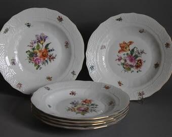6 pc Herend Bouquet Of Flowers Multicolor Dessert Salad Plates # 1520 BHR