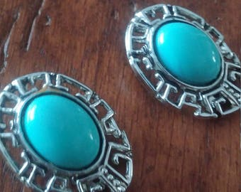 Silver and Robin Egg Blue Clip On Earrings