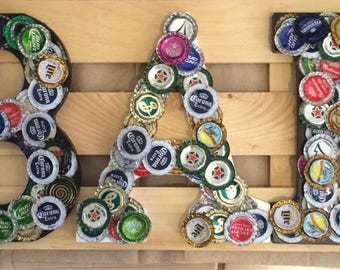 Bottle cap bar sign
