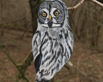 Wood Great Gray Owl Pendant