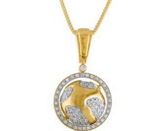 10k Gold And Diamond Globe Pendant With 24 Inch Chain