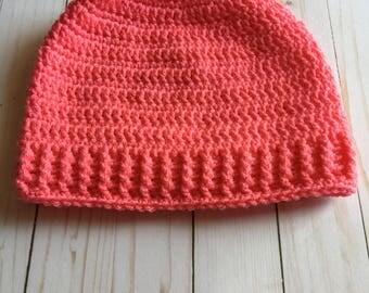 Messy Bun Pony Tail Winter Hat Crochet Handmade