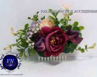 Flower comb Wedding flower comb Purple flower comb Bridal flower comb Floral comb Bridal hair accessories Flower hair vine