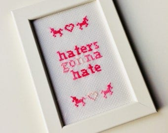 Haters Gonna Hate | Taylor Swift | Unicorn | Heart | Framed | Cross Stitch | Completed | Home | Geek |