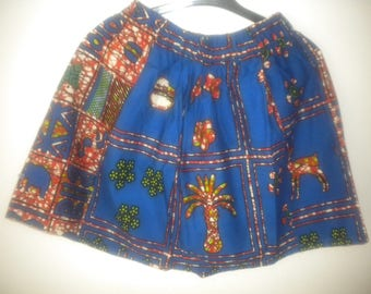 short skirt made of African fabric 100 percent cotton printed in color