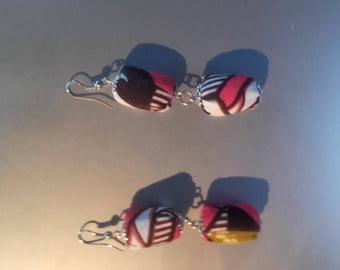 Pierced earrings Handmade fabric earrings African wax