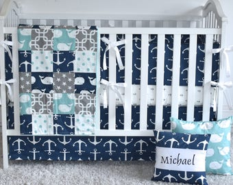 SAMPLE SALE-4 piece set -Navy, grey, canal whales and anchors crib bedding, baby boy, nautical bedding, nautical nursery