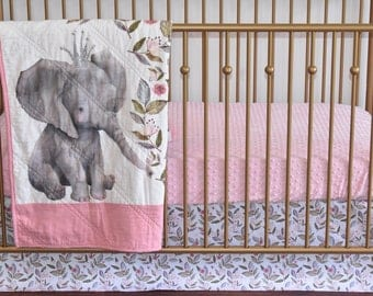 SHIPS TOMORROW -3 piece set -  elephant in crown, floral elephant, linen,  pink bedding, pink and white, gray elephant, baby girl