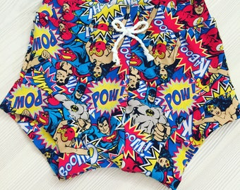 Wonder Woman Baby Bummie shorts / shorties/ superhero shorts /diaper cover / super hero bloomies/ batman bummies/ superman shorties bloomers