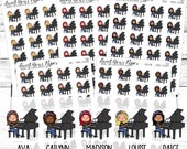 Piano Planner Stickers - Piano Lessons Planner Stickers - Music Planner Stickers - Food Stickers - 1466 - 1467 - 1468 - 1469 - 1470