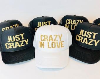 Crazy in Love Just Crazy Hats | Bachelorette Party Hats | Bachelorette Hats | Bachelorette Trucker Hats | Bridal Hats | Glitter Trucker Hats