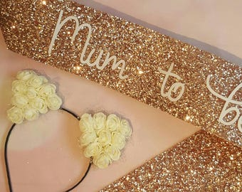 Rose Gold Baby Shower Sash & hair band - Mum to be Sash - Gender Reveal Party -Mummy to be - Mother to be glitter sash - its a girl