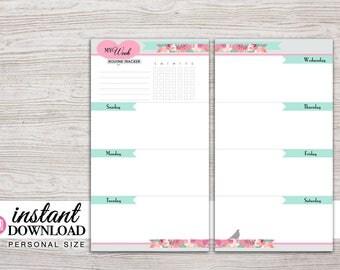 Planner Printable - Weekly Inserts - Undated - Filofax Pesronal - Kikki K Medium - 3.75 x 6.75 in - Free Stickers - Design: Flirty Girl