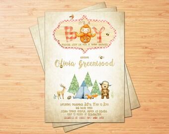 LUMBERJACK BABY SHOWER invitation, It's a Boy Winter shower printable, Buffalo Plaid Woodland Invite, Rustic Bear baby shower invitation