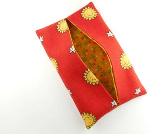 Tissue holder, 100 % cotton kleenex cover, travel - red smile yellow sun