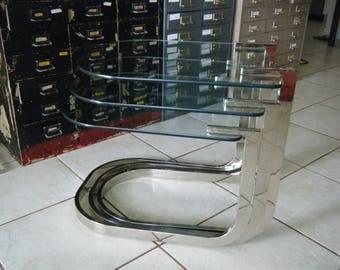 Vintage Mid Century Modern Milo Baughman Chrome Nesting Tables
