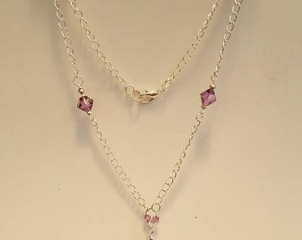 22in Amethyst and Swarovsk Crystal Silver Plated Necklace and co-ordinating Bracelet
