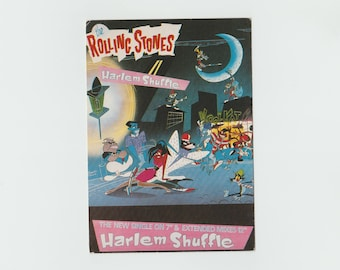 Vintage Rolling Stones PostCard / Harlem Shuffle / Mick Jagger & Keith Richards / Dirty Work Album / Rock 'N Roll / The Stones / 80's