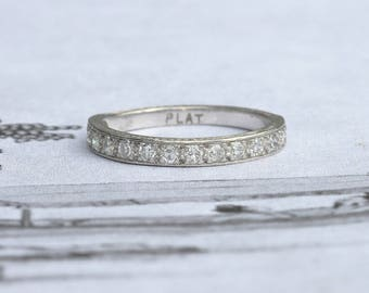 Art Deco Diamond Half Eternity Ring, Vintage Wedding Band with Engraving Made in Platinum, Size N+