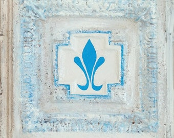 Fleur De Lis inspired by Homer Laughlin mcm dish pattern hand painted tin ceiling tile