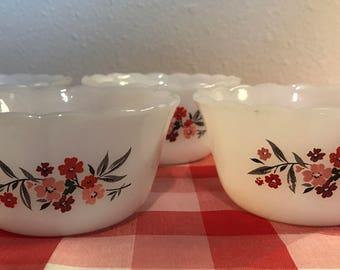Vintage Fire King Primrose Fruit Bowls Dessert Cups