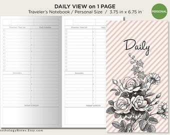 Daily View - Personal Size - Traveler's Notebook - Printable Planner - Do1P Minimalist Functional
