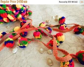 10% OFF Rainbow Pom Pom Trim, Embroidered Trim, Belt Trim, Pom Pom Trim - 2 yards