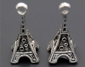 30pcs Antique Silver 3D Mini Tower Charms Pendant A2349