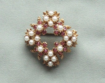 Vintage Pink Rhinestone & Pearl 4-Point  Scatter Pin