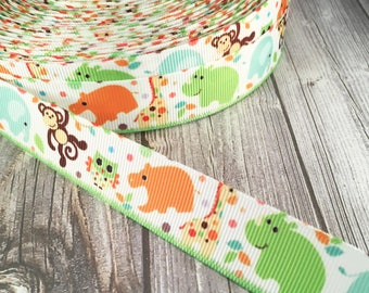 Animal ribbon - Elephant ribbon - Monkey ribbon - Owl ribbon - Grosgrain ribbon - Giraffe ribbon - Hippo ribbon - Crafting supply - Cute