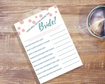 How Well do you know the Bride Printable's Pink Yellow and Blue