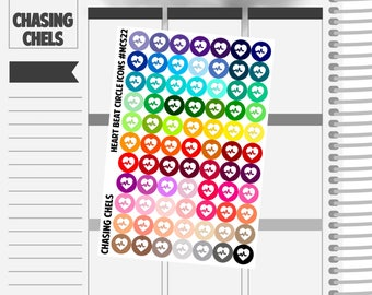 Heart Beat Circle Icons #MCS22 Premium Matte Planner Stickers