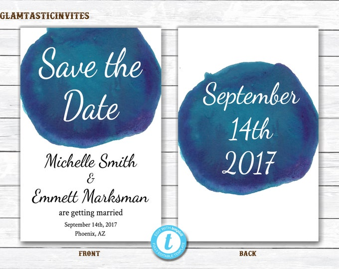 Save-the-Date Template, Watercolor Save the Date, Watercolor Template, Save the Date Template, Save the Date Printable Card, You Edit, DIY