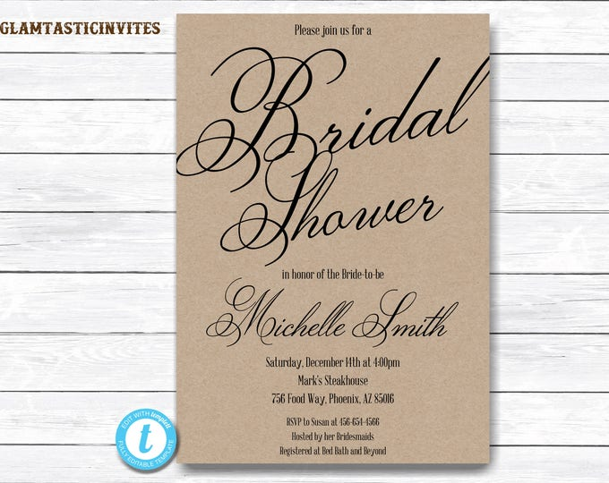 Bridal Shower Invitation Template, Kraft Bridal Shower Invitation, Editable, Template, YOU EDIT, Rustic Bridal Shower Invitation Template