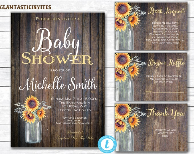 Sunflower Baby Shower Invitation, Rustic Baby Shower Invitation, Baby Shower Template, Country Baby Shower, Rustic Floral Baby, You Edit