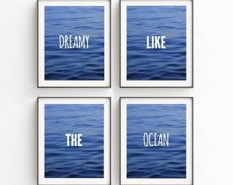 Ocean Print, Ocean Wall Art, Printable Art Set, Set of Four, Wall Decor, Ocean Photo Decor, Blue, Digital Downloads, Turquoise, Ocean Waves
