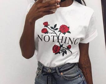 T-shirt With roses nothing tee