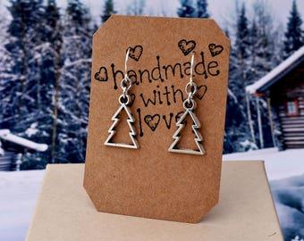 Christmas Earrings Pine Tree Earrings, Antiqued Silver Jewelry - Surgical Steel French Hooks - Winter Jewelry, Stocking Stuffer