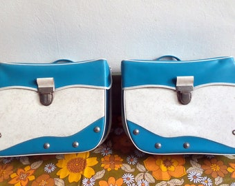 Olympic white blue vintage panniers / bike baskets 1970 / moped / solex / bicycle / bike / cycling gift.