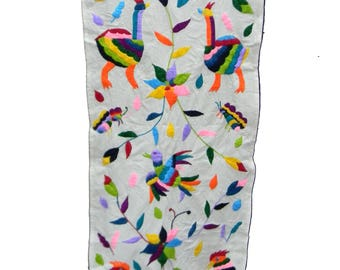 Otomi Table Runner, Mexican Table Runner, Mexico Embroider, Home Decor  Cotton 100%