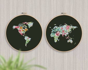 BOGO FREE! World Map Cross Stitch Pattern, Floral World Map Silhouette, Flowers Counted xStitch Chart, Modern Decor, PDF Download #025-17-5