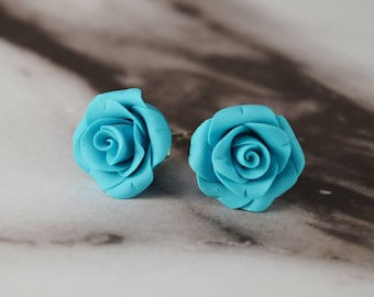 Turquoise Roses. Polymer Clay Rose Earrings. Rose Earrings. Rose Studs. Flower Earrings. Gift for Her. Handmade Jewelry