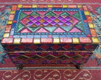 Mosaic jewellery box, mixed media trinket box, keepsake box