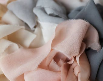 """Silk Chiffon Ribbon, 2.5"""" wide, by the yard: hand made, plant dyed."""