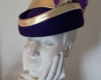Beautiful Royal Purple and Gold Lame Pillbox Hat/ Costume Hat/ 1980s Hat